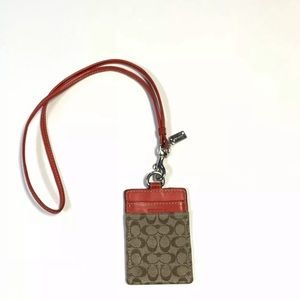 Coach neck laynard Credit Card ID Holder Signature